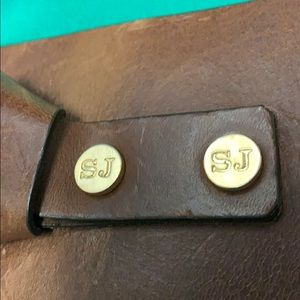 St. John brown distressed wide belt gold buckle L